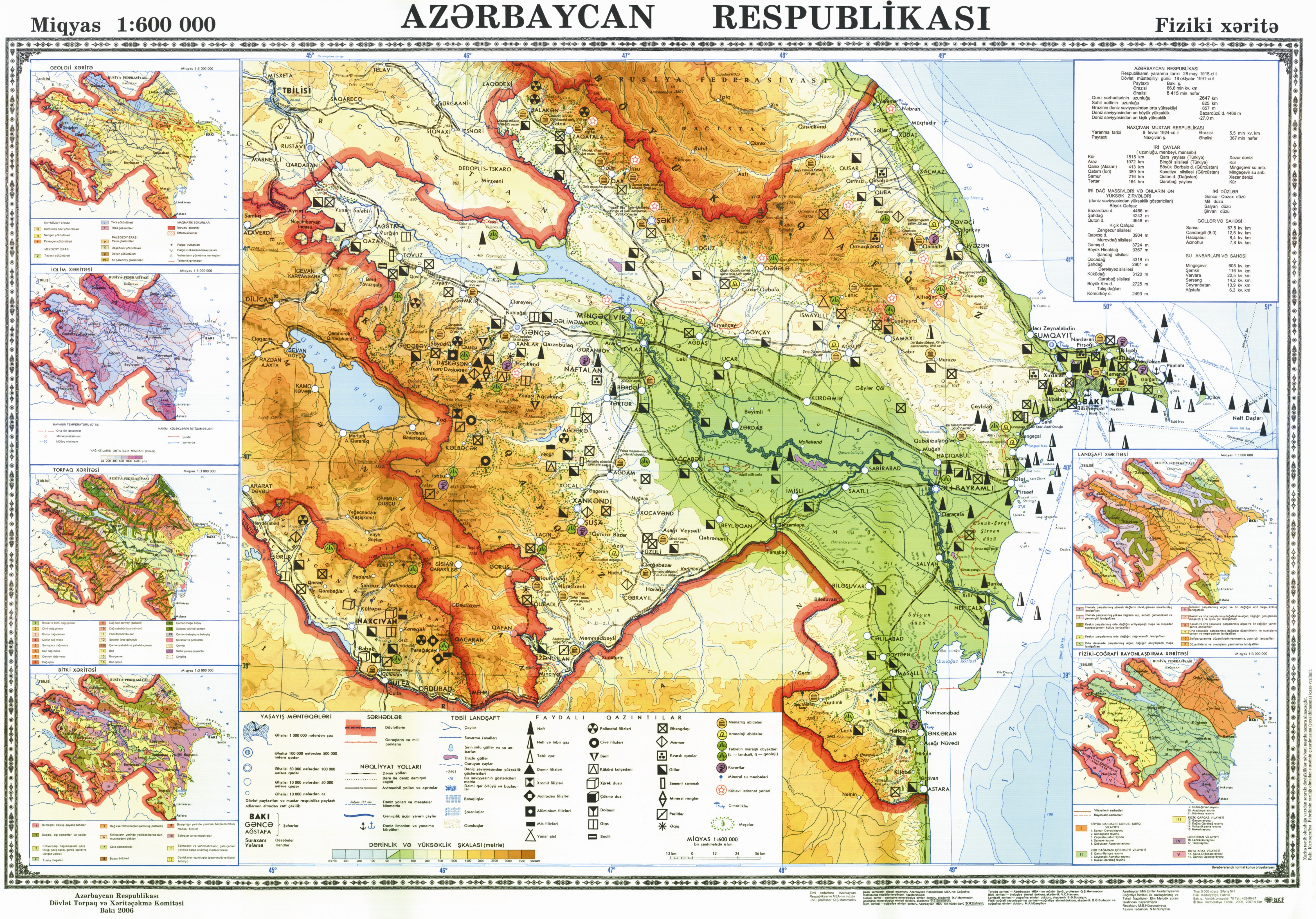 Map of mining resources in Azerbaijan
